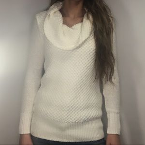 American Eagle Petite Cowl Neck White Sweater SP